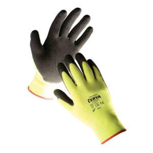 Rękawice robocze Palawan powlekane lateksem rozm. 7-11 żółta dzianina czarny lateks ochronne robocze rękawiczki