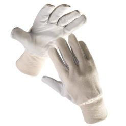 rękawice robocze pelican plus cerva ochronne wzmocnienia z koziej skóry biało szare bawełniane