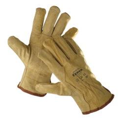 rękawice robocze skórzane pigeon firmy cerva żółte w całości ze skóry świńskiej dwoinowej marszczone