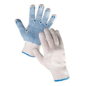 Rękawice nakrapiane Plover PVC Cerva w rozmiarach 9 i 10 dziane z przędzy bawełna poliester biało niebieskie