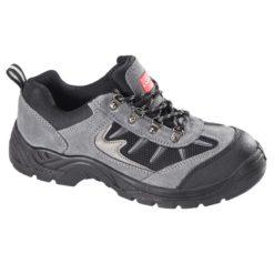buty robocze Lahti PRO L30405 do kostki niskie obuwie ochronne bhp do pracy półbuty z noskiem podnoskiem stalowym z blachą antyprzebiciowe antypoślizgowe zamszowe skórzane szare czarne lahti