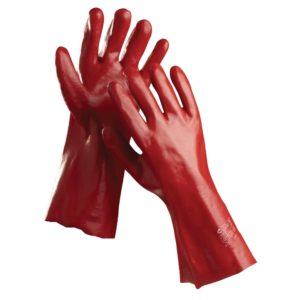 Rękawice PVC Redstart bawełniane w całości powlekane 45cm długości odporne na ciecze czerwone długie