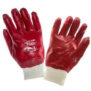 Rękawice oblewane PVC Lahti PRO L2401, czerwone bawełniane ochronne robocze