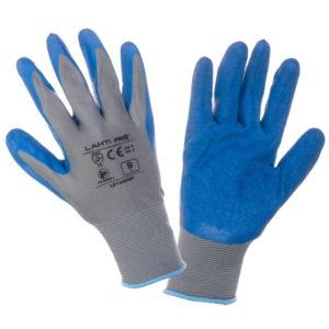 Rękawice Robocze Lahti PRO L2104, szare niebieskie ochronne, powlekane lateksem obie strony