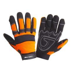warsztatowe rękawice robocze Lahti PRO L2805 ochronne rękawice do pracy mocne czarno pomarańczowe mikrofibra elastan obie