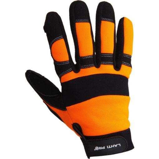 warsztatowe rękawice robocze Lahti PRO L2805 ochronne rękawice do pracy mocne czarno pomarańczowe mikrofibra elastan strona wierzchnia