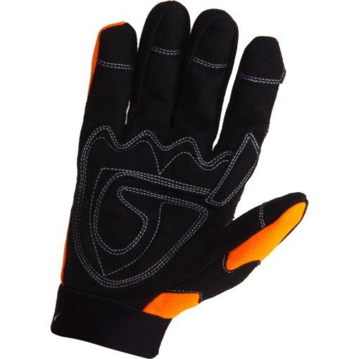 warsztatowe rękawice robocze Lahti PRO L2805 ochronne rękawice do pracy mocne czarno pomarańczowe mikrofibra elastan strona chwytna