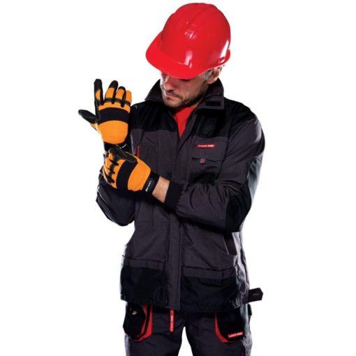 warsztatowe rękawice robocze Lahti PRO L2805 ochronne rękawice do pracy mocne czarno pomarańczowe mikrofibra elastan na modelu