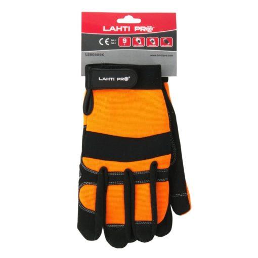 warsztatowe rękawice robocze Lahti PRO L2805 ochronne rękawice do pracy mocne czarno pomarańczowe mikrofibra elastan w opakowaniu