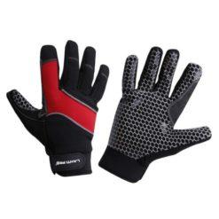 antypoślizgowe rękawice robocze Lahti PRO l2811 czarno czerwone z silikonem odblaskowe rękawiczki warsztatowe do pracy wysokiej jakości mikrofibra wzmocnione