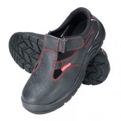 sandały Lahti PRO LPSOMA czarne czerwona nić skórzane, obuwie bezpieczne, obuwie robocze podnosek stalowy