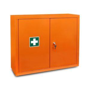 Apteczka Metalowa Typ020 SwingMed Przemysłowa DIN 13157+ustnik metalowa zakładowa do biura apteczka pierwszej pomocy pomarańczowa din 13157 lub din 13164 zamknięta
