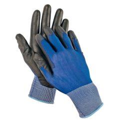 Rękawice robocze Smew Cerva Manualne Powlekane PU cienkie ultracienkie dla mechanika ergonomia manulalność niebiesko czarne