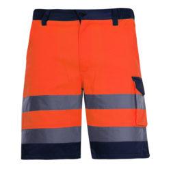 Spodnie krótkie ostrzegawcze pomarańczowe Lahti PRO L40702 spodenki odblaskowe spodenki ostrzegawcze spodenki krótkie pomarańczowe lahti pro przód drogowe