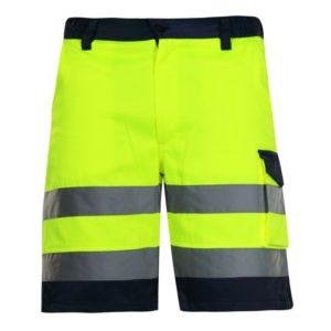 Spodnie krótkie ostrzegawcze żółte Lahti PRO L40701,spodenki odblaskowe ostrzegawcze, spodenki krótkie żółte lahti pro, drogowe do pracy robocze