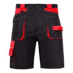 Ochronne spodnie robocze krótkie Lahti PRO L40704 spodnie krótkie do pracy bhp ochronne robocze mocne czarno czerwone z kieszeniami bawełniane ciuchy robocze