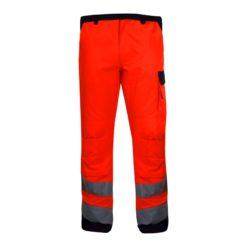 Spodnie Ostrzegawcze Pomarańczowe Lahti PRO L41005 Premium ostrzegawcze w pas do pasa drogowe z odblaskami wysokiej widzialności pomarańczowe z przodu