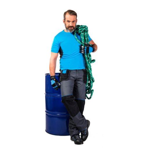 Spodnie robocze Lahti PRO L40504 do pasa w pas ochronne robocze do pracy ciuchy odzież pracownicza kieszenie na nakolanniki szare niebieskie czarne ciuchy sklep bhp na modelu