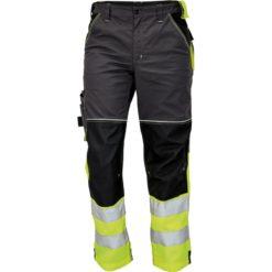 Spodnie do pasa Robocze Odblaskowe Knoxfield HV DW Żółte wysokiej widoczności z pasami odblaskowymi ostrzegawczymi w pas spodnie drogowe do pracy bhp ochronne