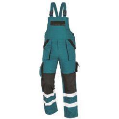 Ochronne spodnie Ogrodniczki robocze odblaskowe max reflex rflx zielone czarne z dwoma paskami odblaskowymi na dole szwedy na szelki do pracy drogowe