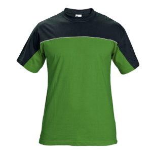 Koszulka T-shirt Stanmore Zielona czarna rozm. S-4XL 100% bawełna dwukolorowa mocna koszulka robocza ściągacz z elastanem