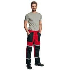 Spodnie Robocze do pasa Tayra Cerva czerwono czarne z odblaskami odporne dla mechaników