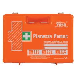 apteczka top 10 din 13164 apteczka top 10 din 13157 pomarańczowa pierwszej pomocy zestaw z wyposażeniem biurowa przemysłowa zakładowa walizka abs ścienna ze stelażem przód