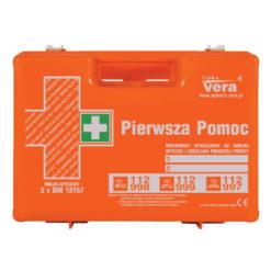 apteczka top 20 2x din 13157 vera zestaw pierwszej pomocy apteczka zakładowa biurowa na stelażu ścienna walizka abs przenośna pomarańczowa przód