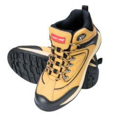 trzewiki Lahti PRO L30102 skórzane nubuk beżowe khaki wysokie robocze ochronne, podeszwa gumowa obuwie robocze