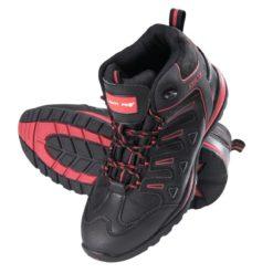 trzewiki Lahti PRO L30107 oxford skóra czerwone czarne wysokie robocze ochronne, podeszwa gumowa, obuwie robocze