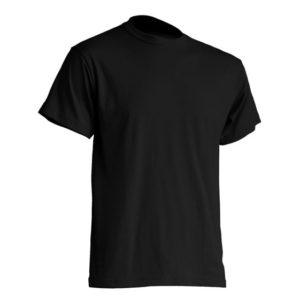 Mocna koszulka T-Shirt JHK TSRA Czarna gram. 190g. do nadruku XS-3XL koszulka robocza koszulka reklamowa mocna wytrzymała bawełniana do pracy oddychająca komfortowa podkoszulka robocza