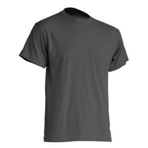 Mocna koszulka T-Shirt JHK TSRA grafitowa gram. 190g. do nadruku XS-3XL koszulka robocza koszulka reklamowa mocna wytrzymała bawełniana do pracy oddychająca komfortowa podkoszulka robocza