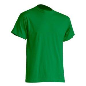 Mocna koszulka T-Shirt JHK TSRA zielona gram. 190g. do nadruku XS-3XL koszulka robocza koszulka reklamowa mocna wytrzymała bawełniana do pracy oddychająca komfortowa podkoszulka robocza