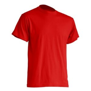 Mocna koszulka T-Shirt JHK TSRA Czerwona gram. 190g. do nadruku XS-3XL koszulka robocza koszulka reklamowa mocna wytrzymała bawełniana do pracy oddychająca komfortowa podkoszulka robocza