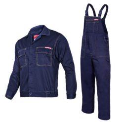 komplet roboczy Lahti PRO Quest LPQK granatowy ciuchy robocze ubranie bhp do pracy odzież robocza ochronna ogrodniczki szwedy bluza mocna na szelki lahti