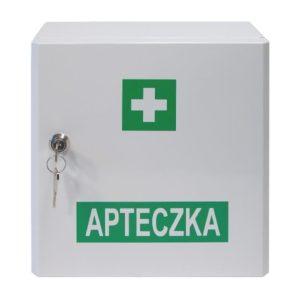 Apteczka VERA 6 DIN 13167 pierwsza pomoc metalowa szafka apteczkowa z wkładem na kluczyk zestaw pierwszej pomocy zakładowa biurowa ścienna do ściany biała zamknięta apteczka vera 4