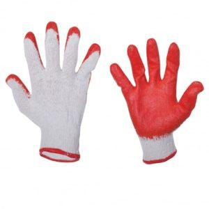 Rękawice Robocze wampirki Lahti PRO L210609W rękawiczki robocze ogrodnicze tanie mocne biało czerwone bawełniane poliestrowe lateksowe