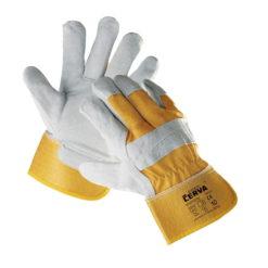 Rękawice robocze wzmacniane Eider, dostępne w rozmiarach od 9 do 12. Wzmocnienia ze skóry bydlęcej dwoinowej, podszewka w częsci chwytnej. żółte