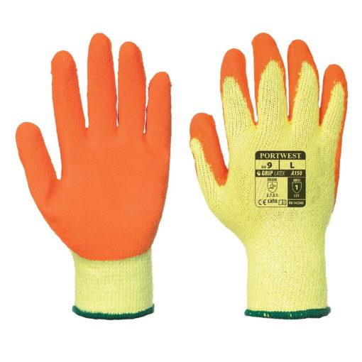 Dziane Rękawice Robocze PORTWEST A150 Fortis Grip rozm. 8-11 powlekane premium rękawiczki do pracy bhp lateks dzianina pomarańczowe