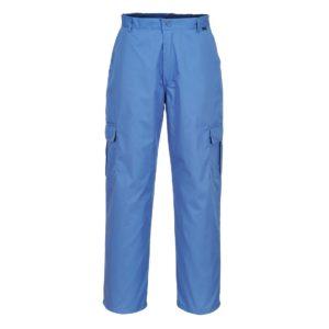 Spodnie Antyelektrostatyczne ESD Portwest AS11 spodnie w pas do pasa antystatyczne antyelektrostatyczne niebieskie na guzik pasek