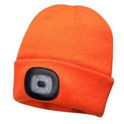 Czapka z lampką LED Portwest B029 Ładowana przez USB czapka zimowa akrylowa ciepła ocieplana z latarką z lampką led pomarańczowa