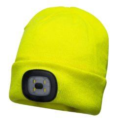 Czapka z lampką LED Portwest B029 Ładowana przez USB czapka zimowa akrylowa ciepła ocieplana z latarką z lampką led żółta