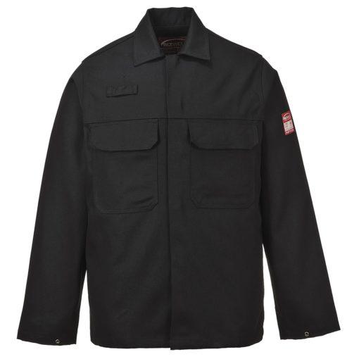 Bluza trudnopalna Bizweld Portwest BIZ2 trudnopalna spawalnicza bluza ochronna bhp do spawania ubranie spawacza przeciwodpryskowe niepalne czarne