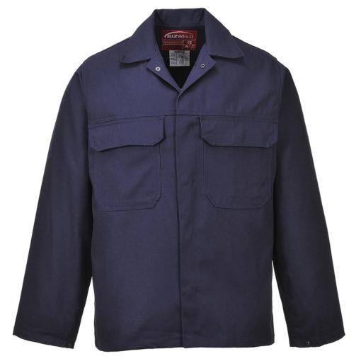 Bluza trudnopalna Bizweld Portwest BIZ2 trudnopalna spawalnicza bluza ochronna bhp do spawania ubranie spawacza przeciwodpryskowe niepalne granatowe