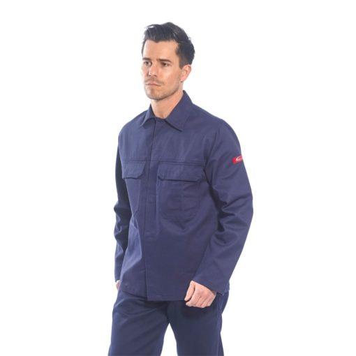 Bluza trudnopalna Bizweld Portwest BIZ2 trudnopalna spawalnicza bluza ochronna bhp do spawania ubranie spawacza przeciwodpryskowe niepalne granatowe na modelu