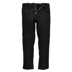 Spodnie trudnopalne do pasa Bizweld Portwest BZ30 czarne spodnie w pas do pasa spawalnicze dla spawacza trudnopalne niepalne zapinane regulowane ochronne bhp robocze ciuchy czarne