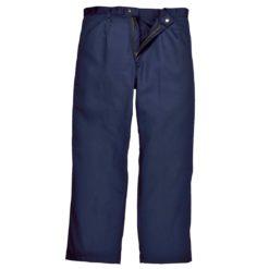 Spodnie trudnopalne do pasa Bizweld Portwest BZ30 granatowe spodnie w pas do pasa spawalnicze dla spawacza trudnopalne niepalne zapinane regulowane ochronne bhp robocze ciuchy granatowe