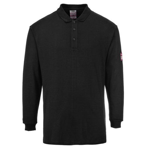 Koszulka polo trudnopalna z długimi rękawami Portwest FR10 Antystatyczna spawalnicza koszulka długi rękaw trudnopalna antystatyczna antyelektrostatyczna mocna longsleeve do spawania ognioodporna czarna