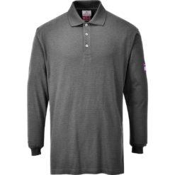 Koszulka polo trudnopalna z długimi rękawami Portwest FR10 Antystatyczna spawalnicza koszulka długi rękaw trudnopalna antystatyczna antyelektrostatyczna mocna longsleeve do spawania ognioodporna szara