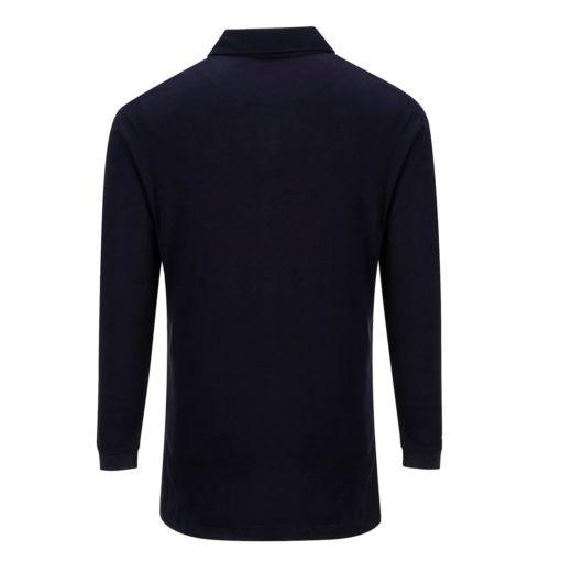 Koszulka polo trudnopalna z długimi rękawami Portwest FR10 Antystatyczna spawalnicza koszulka długi rękaw trudnopalna antystatyczna antyelektrostatyczna mocna longsleeve do spawania ognioodporna granatowa tył